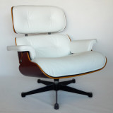Eames lounge chair in Snow White leather